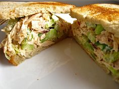 Kneaders Chicken Salad.  Use fat free mayo and sour cream to lighten up!