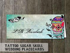 Skull Wedding Placecards - Sugar Skull Design for the Dia De Los Muertes wedding Digital Printable  50 Total with Name Customization  $40.00  Via Odd Lot Weddings #wedding #sugarskull