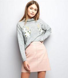 Mid Pink Leather-Look Mini Skirt | New Look