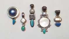 Jewelry LOT 5 Pendants Mix Sterling Silver OPAL & Mabe Pearl