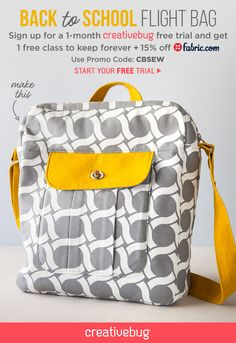 Awesome back to school sewing project for teens or adults. Use promo code CBSEW for a completely free tutorial on how to make this backpack.