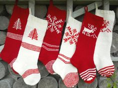 WILL SHIP IN Christmas Stockings Personalized Hand knit Wool White Red Cranberry Red Deer Tree Snowflake ornaments Knitted Christmas Stocking Patterns, Knitted Christmas Decorations, Personalised Christmas Decorations, Knitted Christmas Stockings, Christmas Knitting, Baby Knitting Patterns, Loom Knitting, Hand Knitting, Knitting Ideas