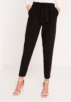 Missguided - Pleated Waist Tie Belt Cigarette Pants Black