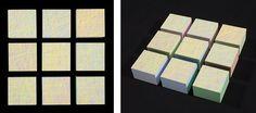 Susanne Lyner, 2014_20, Serie Les friandises, 34x34x6(9teilig) Acryl gesprizt auf Holz
