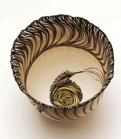 cheryl malone art | CHERYL MALONE / FOLIATED VESSEL WITH YELLOW CENTRE / COILED PORCELAIN ...