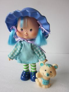strawberry blueberry muffin 1980 doll | Vintage Strawberry Shortcake Blueberry Muffin Doll and Pet Cheesecake