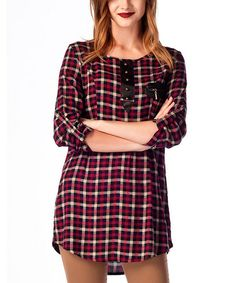 Look what I found on #zulily! Bordeaux Plaid Faux Leather-Accent Tunic #zulilyfinds