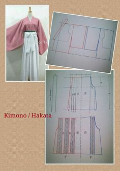 Discover thousands of images about KIMONO Japanese Sewing Patterns, Sewing Patterns Free, Sewing Tutorials, Kimono Sewing Pattern, Pattern Drafting, Blouse Patterns, Clothing Patterns, Sewing Clothes, Diy Clothes