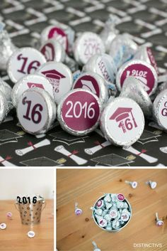 Add these Maroon Class of 2017 Graduation Party Favor Stickers to a Hershey's Kiss for a simple and easy party favor or table decoration. Each package includes 324 self-adhesive stickers for you to pl