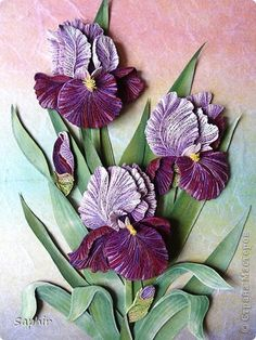 *QUILLING ~ The painting mural drawing March 8 Paper Paper Quilling iris band photo 1