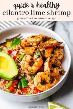 Cilantro lime shrimp is the perfect quick, healthy, and flavorful weeknight dinner recipe! It comes together in just about 20 minutes and is packed with cilantro lime flavor. #cilantrolimeshrimp #cilantrolime #glutenfree #shrimprecipes   Daisybeet   Alex Aldeborgh, MS, RD Whole Food Recipes, Dinner Recipes, Healthy Recipes, Ww Recipes, Healthy Eats, Free Recipes, Cilantro Lime Shrimp, Shrimp Avocado, Healthy Pasta Dishes