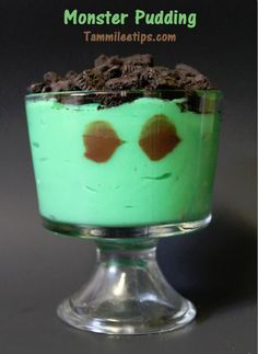 Monster Pudding! Perfect for Halloween parties or a family treat. So easy to make and tastes great!
