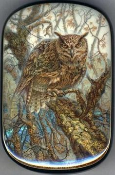 """Fedoskino. Russian Lacquer Art Titled """"Owl"""" Artist Aleksey Chirkov"""