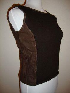 Dana Buchman Brown 100 Leather Merino Wool Croc Fall Tank Top Small SM S | eBay