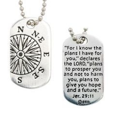 Compass Dog Tag Necklace - For I Know The Plans I Have For You – Beattitudes Religious Gifts