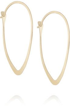 Melissa Joy Manning 14-karat gold earrings  | NET-A-PORTER  Have been looking for some almond shaped hoops for ages!