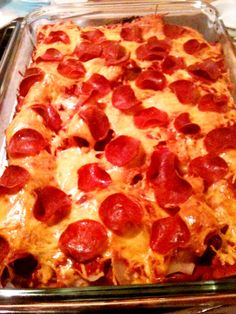 Gluten Free Sausage and Pepperoni Pizza Casserole - made this, everyone liked it