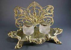 Ornate Bradley & Hubbard double inkstand - Brass and Cut Glass