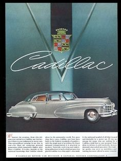 1947 Cadillac sedan silver and green car vintage print ad