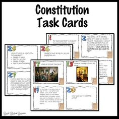 Review for a test with Constitution Task Cards. There are 32 question cards that are a combination of recall, primary source quotes, and images. Challenge your students at a variety of levels! Differentiate by giving certain cards to your students. A blank template is included at the end if you wish to include more questions. The Answer Sheet has space for up to 40 questions. I recommend that you laminate the cards so that you can use them year after year.