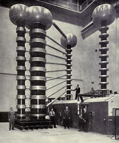 """""""The 1,4000,000-volt X-ray machine at the high voltage laboratory at the National Bureau of Standards in Washington, D.C."""" An introduction to electronics. 1946. Prelinger Library."""