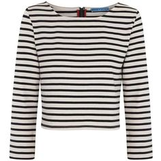 Alice + Olivia Monochrome striped cropped cotton top ($175) ❤ liked on Polyvore featuring tops, shirts, crop tops, long sleeves, sweaters, long-sleeve crop tops, long-sleeve shirt, long sleeve stripe shirt, long sleeve shirts and striped shirts
