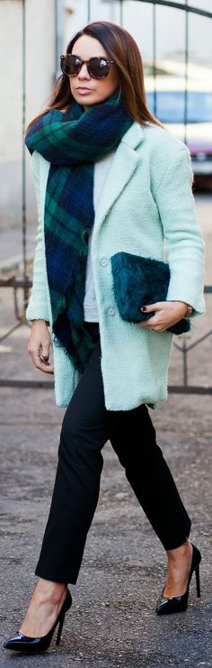 #scarfs #Minty #Coat by Cashmere In Style