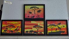 Activité Créative Enfants - Réaliser un tableau de la savane au soleil couchant en 3 façons - Activité Manuelle - peinture à l'éponge - Gouache solide en stick ApliKids - découpage collage - art animaux éléphant girafe Afrique hippopotame rhinocéros autruche - jaune orange rouge - DIY - Cadre - Triptyque - Fait Maison
