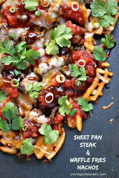 Sheet Pan Steak and Waffle Fries Nachos are loaded nachos made with waffle fries, steak and Tex-Mex cheese then topped with barbecue sauce, salsa, onions, and cilantro. All cooked on a sheet pan to make clean up a snap. Entree Recipes, Mexican Food Recipes, Appetizer Recipes, Beef Recipes, Snack Recipes, Dinner Recipes, Cooking Recipes, Snacks, Cheese Recipes