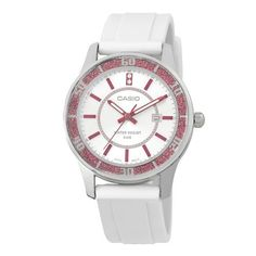 Casio Women's LTP1358-4A1V  Pink Bezel Watch Casio. $40.84. Date display. Stainless steel case back. lamé-sprinkled bezel. Water-resistant to 50 M (165 feet). 3-hand analog