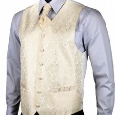 Kvalitná hodvábna pánska vesta + vreckovka, kravata a gombíky - krémová