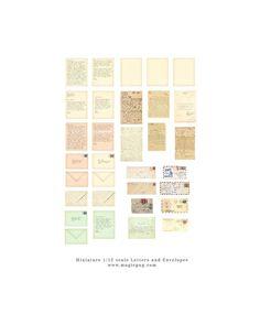 Miniature Dollhouse Printable Letter digital collage sheet letters envelopes 1/12 scale 1:12 scale tiny love letters billet-doux. $4.00, via Etsy.