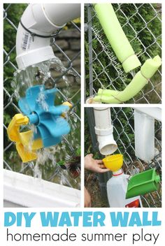 Build a waterfall for outdoor Summer play and summer science this year! Simple DIY homemade water wall made from recyclables and hardware store items.  Perfect Summer activity for toddler, preschool, kindergarten, and grade school age kids. Also makes a fun STEM project for hours of play and learning.
