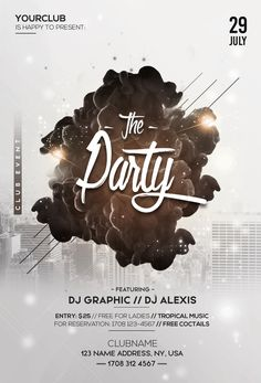 Party Poster Design Flyer Template Galleries Ideas For 2019 Mise En Page Portfolio, Design Club, Flyer And Poster Design, Graphic Design Flyer, Party Table Centerpieces, Flyer Design Inspiration, Club Flyers, Psd Flyer Templates, Cool Business Cards