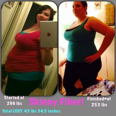Look at Briana's progress!!!! WOW! Briana says, My before and after. I can't believe I've come so far and it's all thanks to skinny fiber! Order your Skinny Fiber today: www.luvskinnyfiber.com ♥(¯`...