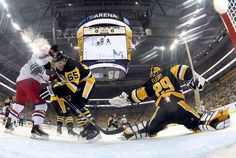Last night the Penguins improved to a 2-0 series lead with a 4-1 victory at home. Sidney Crosby's 1st period goal was his 50th career playoff goal. He joined Mario Lemieux (76) and Jaromir Jagr (65) as the only players in franchise history to reach that number (Geno is at 49). Marc-Andre Fleury also had a milestone night. He surpassed Tom Barrasso for the most playoff games played by a Penguins netminder with 102.