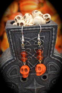 orange ceramic skulls orange/clear round by aimeeNandysEarrings, $12.00