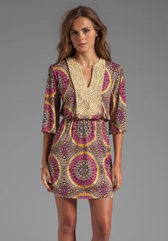 T-BAGS LOSANGELES Mini Caftan Dress in Warm Medallion - Dresses