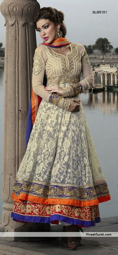 Ravishing Beige Anarkali Suit