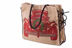 Mona B Jute Market Tote - Santa's Sleigh Burlap Tote, Burlap Crafts, Santa Sleigh, Market Bag, Jute, Reusable Tote Bags, Christmas, Magic, Totes