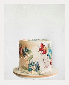 Textured Buttercream Painting Wedding Cakes ~ bold flowers on a single tier cake #flowercakes