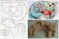20 shapes you have to have - Maria Teresa Lattes 20 moldes que vc precisa ter ART WITH QUIANE - Papers & Crafting: 20 forms you need Cat Fabric, Fabric Toys, Fabric Crafts, Sewing Toys, Sewing Crafts, Sewing Projects, Animal Sewing Patterns, Fabric Animals, Cat Quilt