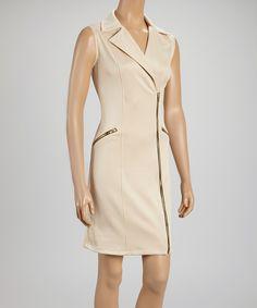 Look what I found on #zulily! Stone Triple-Zipper Sleeveless Dress by AA Studio #zulilyfinds