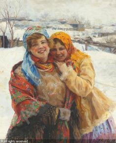 Russian girls by Russian artist, Fedor Vasilievich Sychkov (1870-1958)