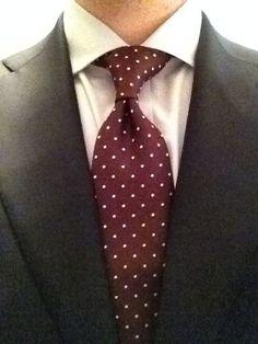 Sam Hober Tie: White Dots on Burgundy Pin-Dot Silk Tie 6 http://www.samhober.com/pin-dot-silk-ties/