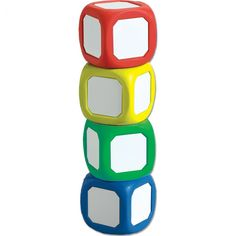 """SMALL MAGNETIC WRITE-ON and WIPE OFF DICE - SET OF 4 COLORS  (All Ages) Easily Create Your Own Specialty Games or Activities!  Each small die measures 2"""" square and features a metal dry erase surface on all six sides. Set contains one each of red, yellow, green, and blue dice.  Die is large enough to: write complete sentences (Dry-Erase Marker) and questions; Draw emotion faces or various scenarios; or for adding photos, pictures or feelings stickers."""