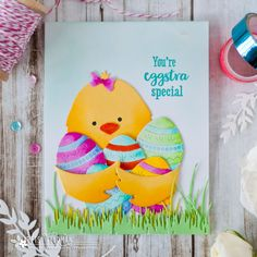 Papertrey Ink Anniversary Celebration Day Garden of Faith and Huggables Bunny & Chick. Celebration Day, 3d Cards, Scrapbook Supplies, Clear Stamps, Bunny, Anniversary, Ink, Card Ideas, 2017 Ideas