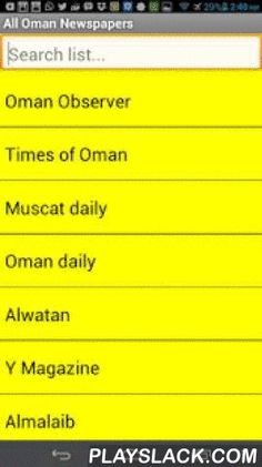 Oman Newspapers  Android App - playslack.com , All Oman Newspapers in one ApplicationOman Observer,Oman Daily - عمانAlmalaib - الملاعبTimes of OmanAzamn - الزمنShabiba - الشبيبةAlroya - الرؤيةMuscat DailyThe WeekNizwa - مجلة نزوىBusiness Today
