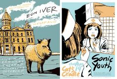 Posters for Bon Iver and Sonic Youth, by Casey Burns