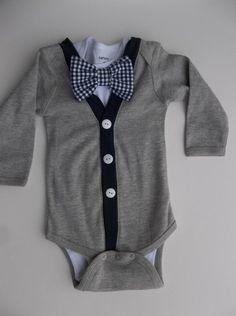 Baby Boy Cardigan Onepiece Navy Gingham Bowtie